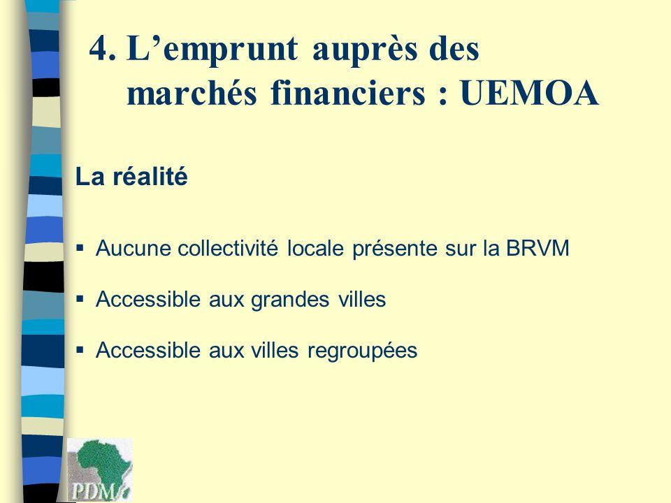 La réalité Aucune collectivité locale présente sur la BRVM Accessible aux grandes villes Accessible aux villes regroupées 4. Lemprunt auprès des march
