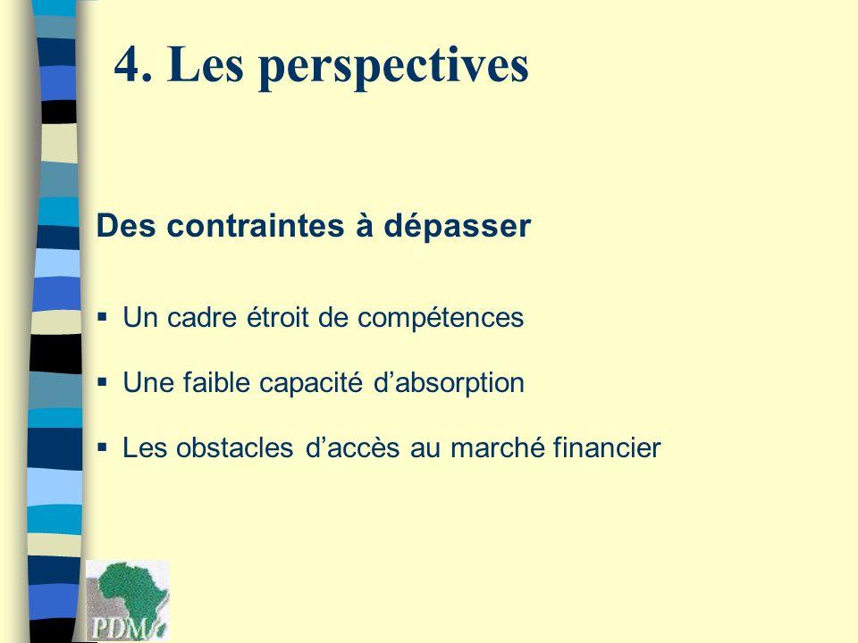 Des contraintes à dépasser Un cadre étroit de compétences Une faible capacité dabsorption Les obstacles daccès au marché financier 4. Les perspectives