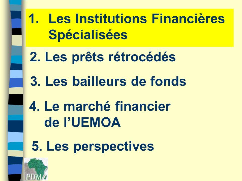 1.Les Institutions Financières Spécialisées 2. Les prêts rétrocédés 3. Les bailleurs de fonds 4. Le marché financier de lUEMOA 5. Les perspectives