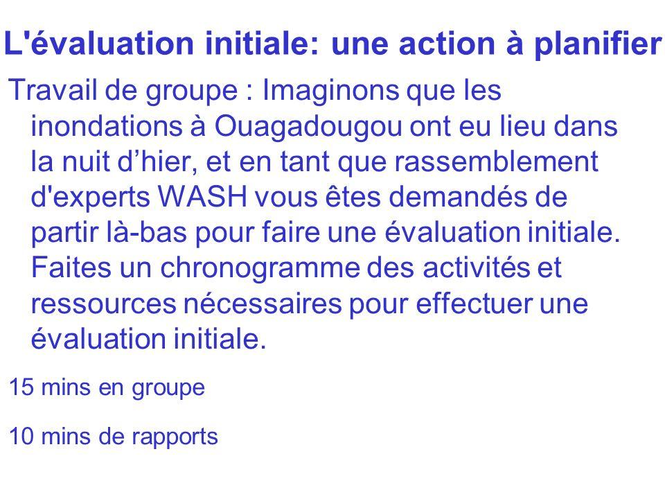 L'évaluation initiale: une action à planifier Travail de groupe : Imaginons que les inondations à Ouagadougou ont eu lieu dans la nuit dhier, et en ta