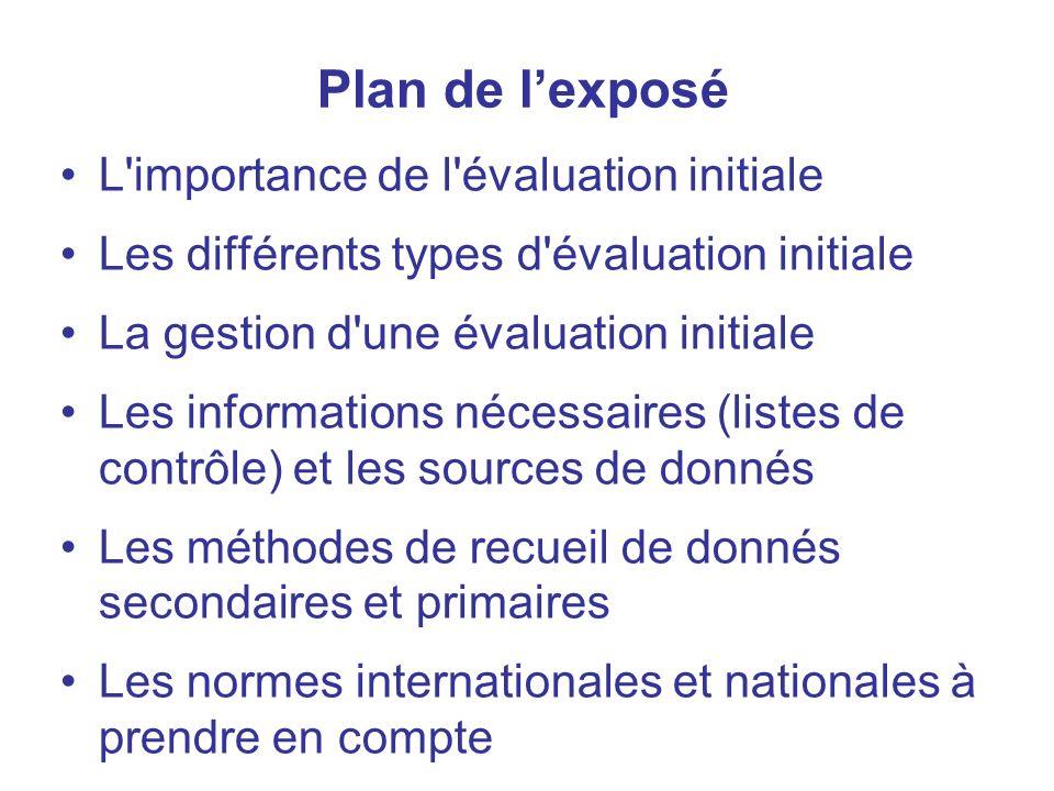 2 Plan de lexposé L'importance de l'évaluation initiale Les différents types d'évaluation initiale La gestion d'une évaluation initiale Les informatio
