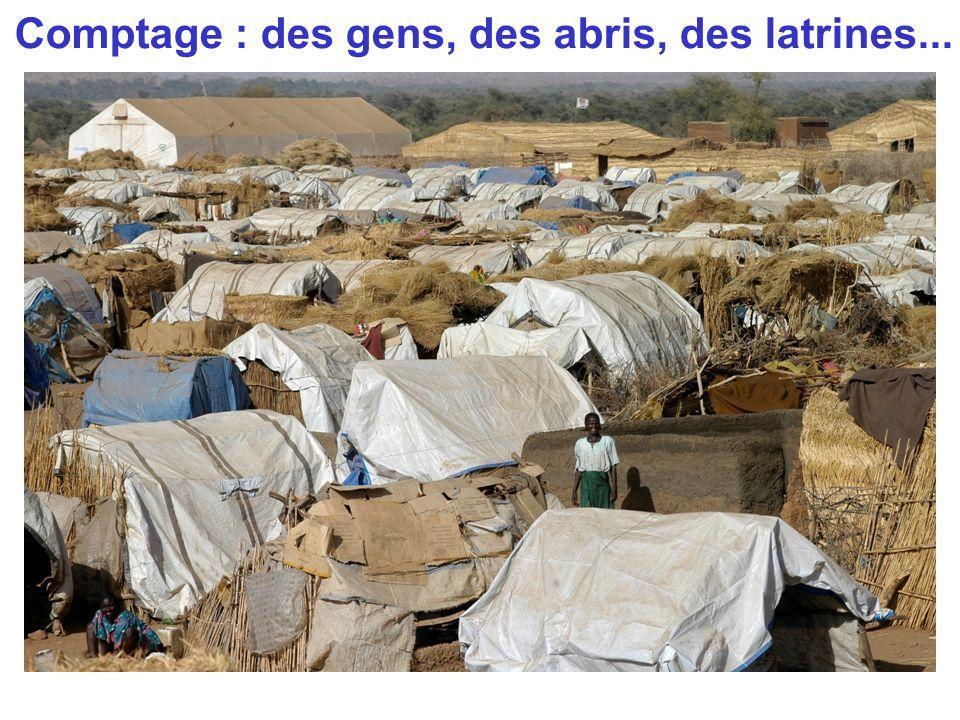 Comptage : des gens, des abris, des latrines...