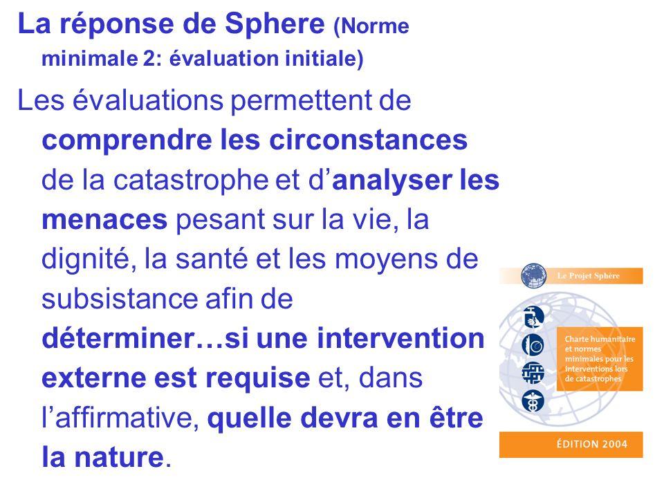 La réponse de Sphere (Norme minimale 2: évaluation initiale) Les évaluations permettent de comprendre les circonstances de la catastrophe et danalyser