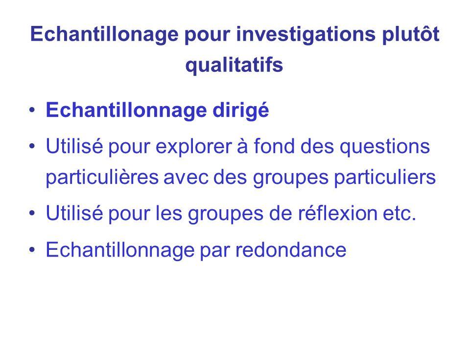 Echantillonage pour investigations plutôt qualitatifs Echantillonnage dirigé Utilisé pour explorer à fond des questions particulières avec des groupes
