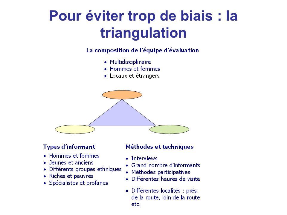 Pour éviter trop de biais : la triangulation