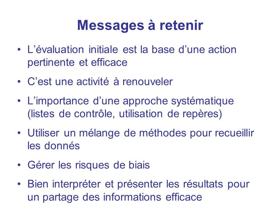48 Messages à retenir Lévaluation initiale est la base dune action pertinente et efficace Cest une activité à renouveler Limportance dune approche sys