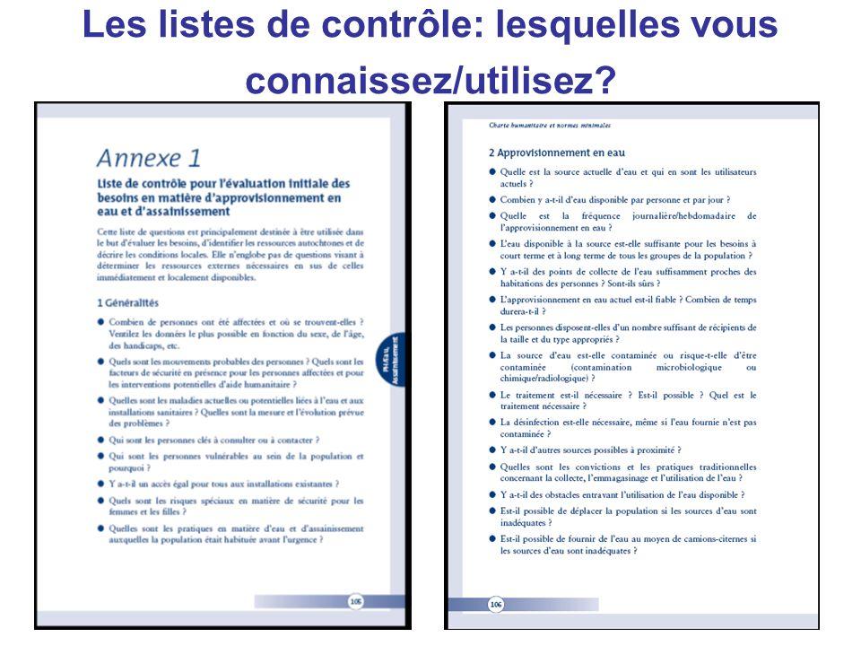 Les listes de contrôle: lesquelles vous connaissez/utilisez?