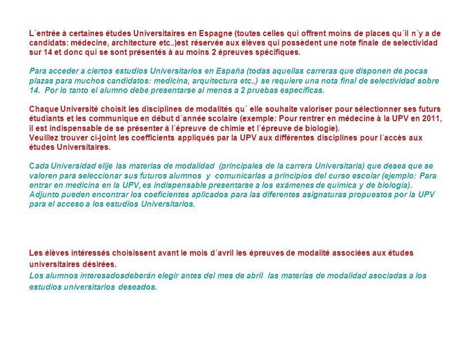 Pour les élèves de notre lycée Para los alumnos de nuestro lycée Il y a de nombreuses similitudes entre les programmes français et espagnols.