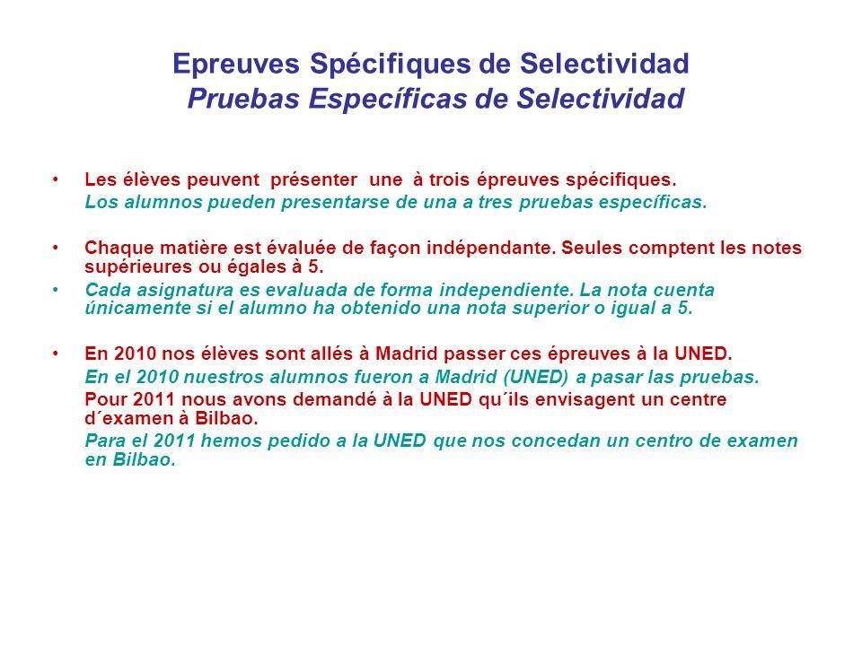 Exemple d´un élève souhaitant rentrer à l´Université de médecine à la UPV Bac + Epreuves Spécifiques Note obtenue au Bac: 18 - Note de la credencial (équivalence avec le système espagnol) :9 - Notes de la phase spécifique Physique: 8 (8*0,1)=0,8 Chimie: 8,5 (8,5*0,2)=1,7 Total des points=2,5 Note finale de selectividad = 11,5
