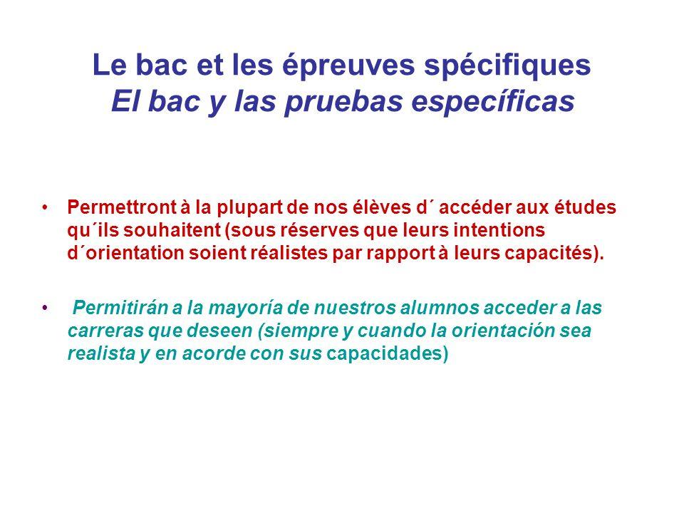 La Selectividad et les Epreuves Spécifiques La Selectividad y las Pruebas Específicas Depuis 2010, les élèves des établissements étrangers peuvent également s´ils le souhaitent passer les épreuves de la phase générale de selectividad et choisir la meilleure des deux notes obtenues (bac ou selectividad) pour s´inscrire à l´Université.