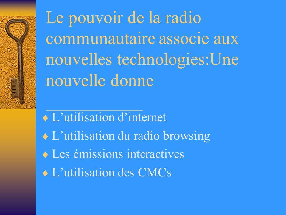 Le pouvoir de la radio communautaire associe aux nouvelles technologies:Une nouvelle donne ___________ Lutilisation dinternet Lutilisation du radio browsing Les émissions interactives Lutilisation des CMCs