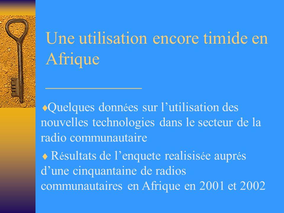 Une utilisation encore timide en Afrique ___________ Quelques donn é es sur lutilisation des nouvelles technologies dans le secteur de la radio communautaire R é sultats de lenquete realisis é e aupr é s dune cinquantaine de radios communautaires en Afrique en 2001 et 2002