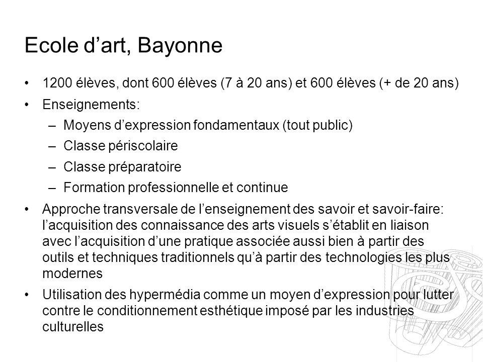 Ecole dart, Bayonne 1200 élèves, dont 600 élèves (7 à 20 ans) et 600 élèves (+ de 20 ans) Enseignements: –Moyens dexpression fondamentaux (tout public