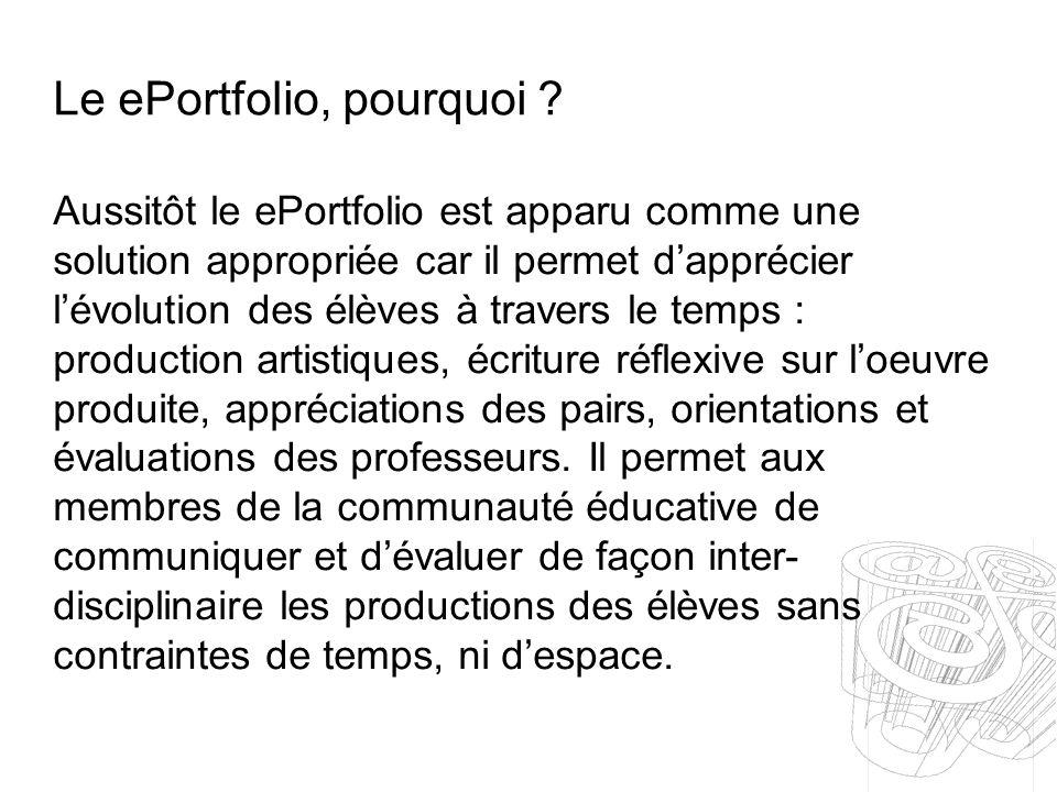 Le ePortfolio, pourquoi ? Aussitôt le ePortfolio est apparu comme une solution appropriée car il permet dapprécier lévolution des élèves à travers le
