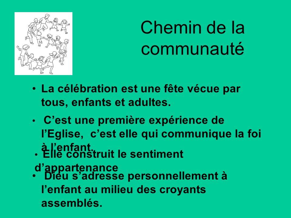Chemin de la communauté La célébration est une fête vécue par tous, enfants et adultes. Cest une première expérience de lEglise, cest elle qui communi