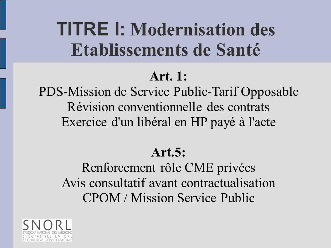 TITRE I: Modernisation des Etablissements de Santé Art. 1: PDS-Mission de Service Public-Tarif Opposable Révision conventionnelle des contrats Exercic