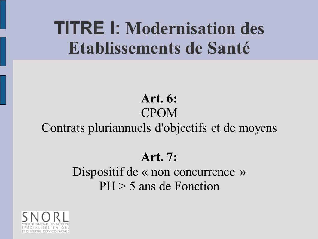 TITRE I: Modernisation des Etablissements de Santé Art. 6: CPOM Contrats pluriannuels d'objectifs et de moyens Art. 7: Dispositif de « non concurrence