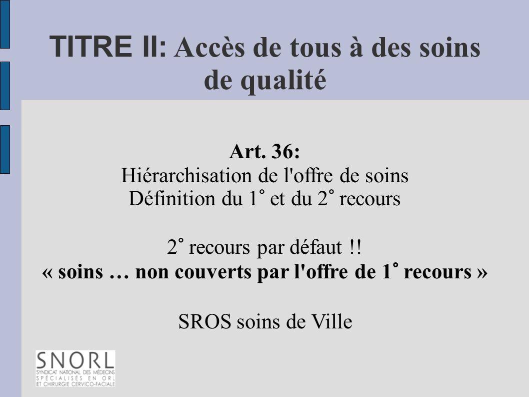TITRE II: Accès de tous à des soins de qualité Art. 36: Hiérarchisation de l'offre de soins Définition du 1° et du 2° recours 2° recours par défaut !!