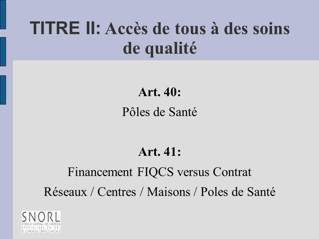 TITRE II: Accès de tous à des soins de qualité Art. 40: Pôles de Santé Art. 41: Financement FIQCS versus Contrat Réseaux / Centres / Maisons / Poles d