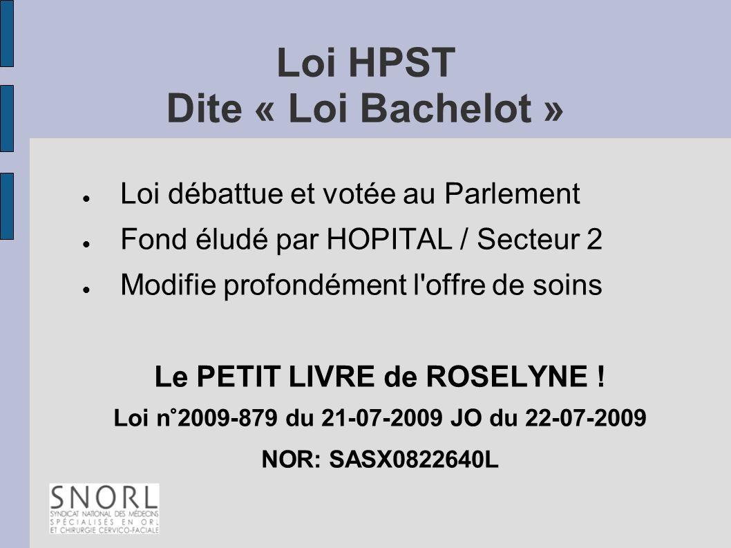 Loi HPST Dite « Loi Bachelot » Loi débattue et votée au Parlement Fond éludé par HOPITAL / Secteur 2 Modifie profondément l'offre de soins Le PETIT LI
