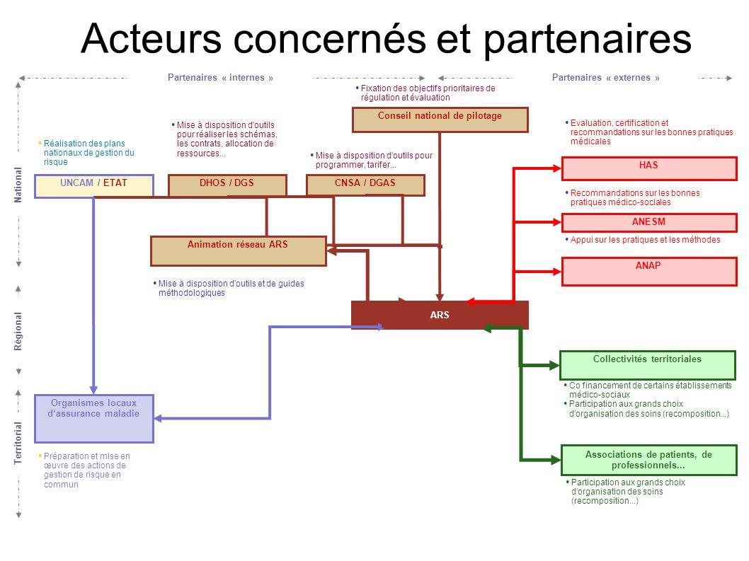 Territorial National Acteurs concernés et partenaires Organismes locaux dassurance maladie ARS Conseil national de pilotage DHOS / DGSCNSA / DGASUNCAM