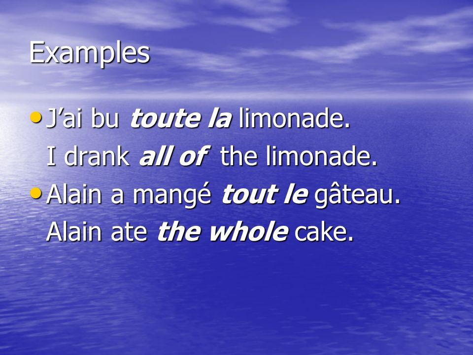 Examples Jai bu toute la limonade. Jai bu toute la limonade.