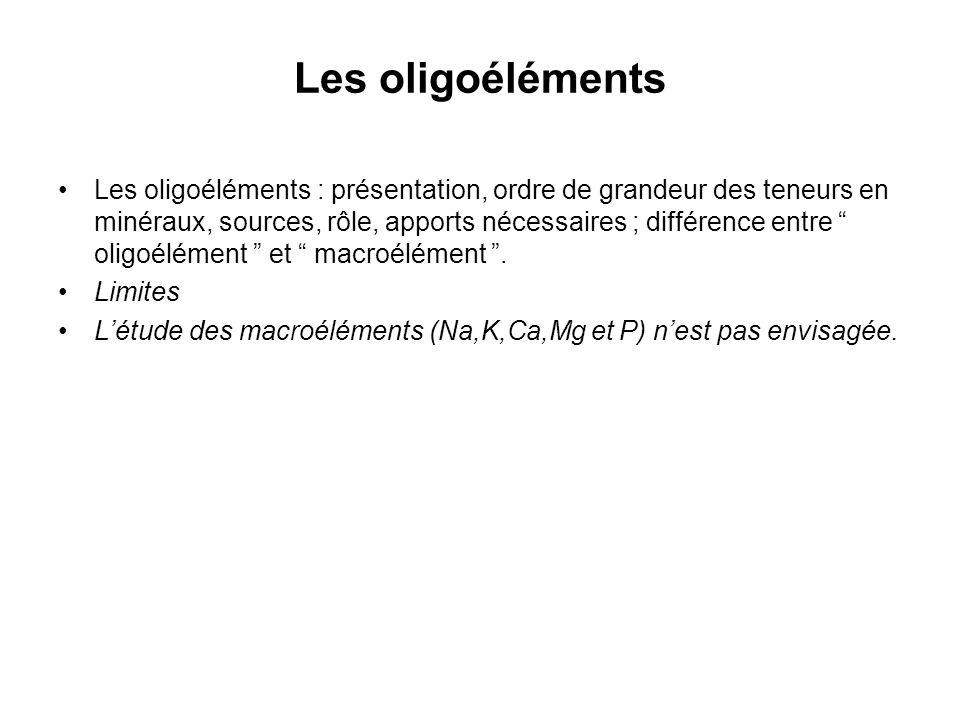 Les oligoéléments Les oligoéléments : présentation, ordre de grandeur des teneurs en minéraux, sources, rôle, apports nécessaires ; différence entre oligoélément et macroélément.