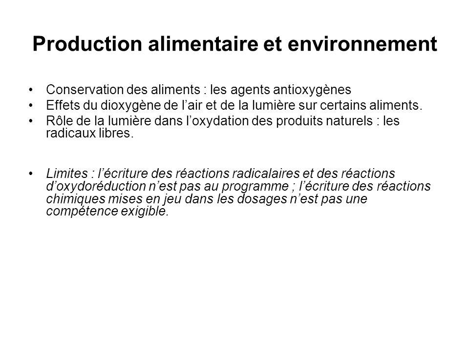 Production alimentaire et environnement Conservation des aliments : les agents antioxygènes Effets du dioxygène de lair et de la lumière sur certains aliments.