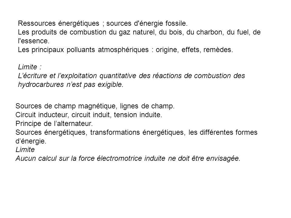 Ressources énergétiques ; sources d énergie fossile.