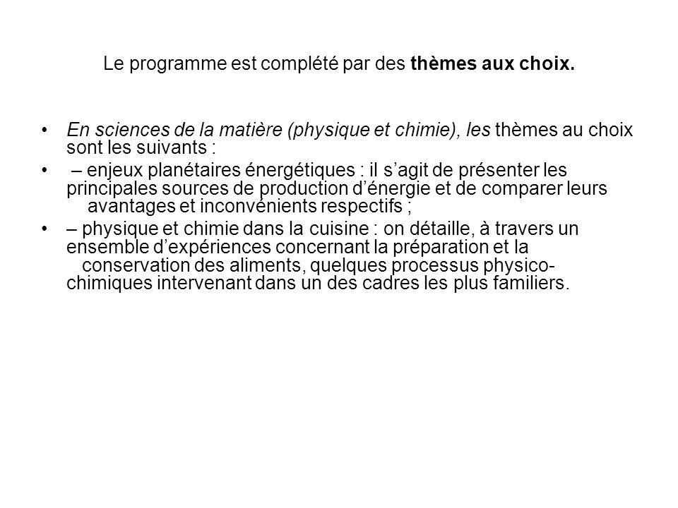 Le programme est complété par des thèmes aux choix.