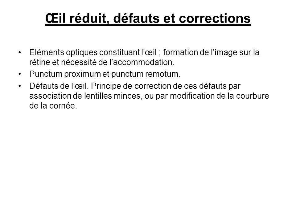 Œil réduit, défauts et corrections Eléments optiques constituant lœil ; formation de limage sur la rétine et nécessité de laccommodation.