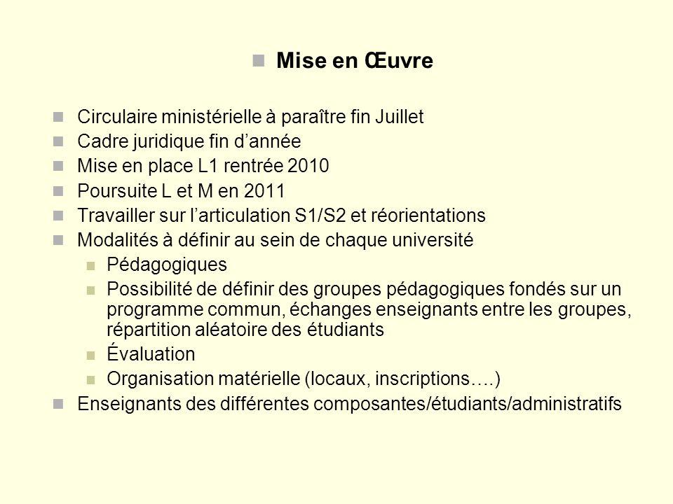 Mise en Œuvre Circulaire ministérielle à paraître fin Juillet Cadre juridique fin dannée Mise en place L1 rentrée 2010 Poursuite L et M en 2011 Travai