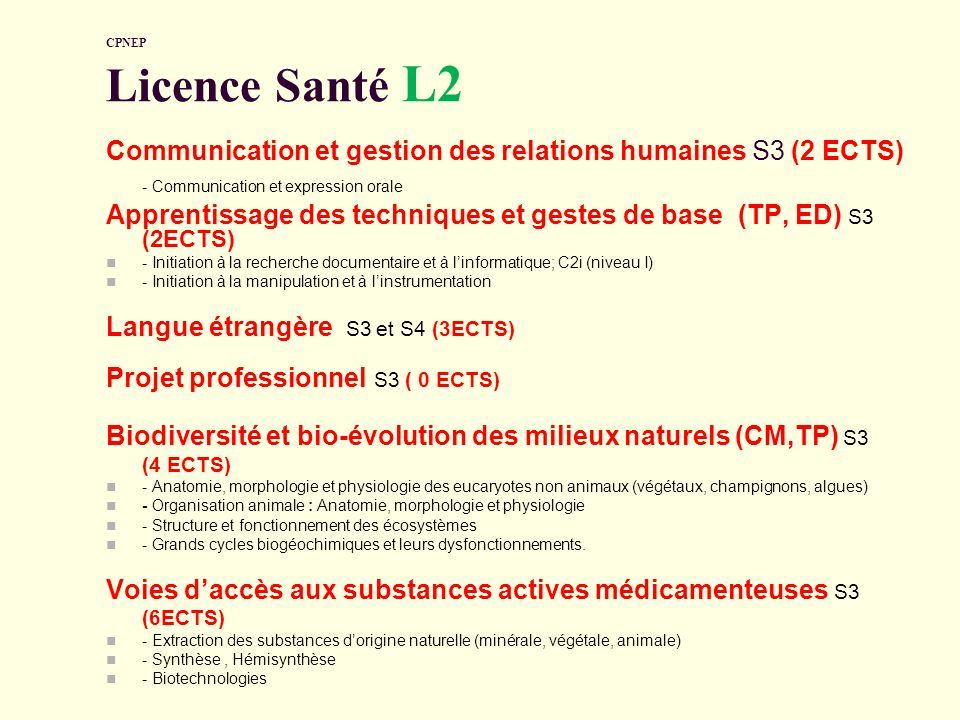 CPNEP Licence Santé L2 Communication et gestion des relations humaines S3 (2 ECTS) - Communication et expression orale Apprentissage des techniques et