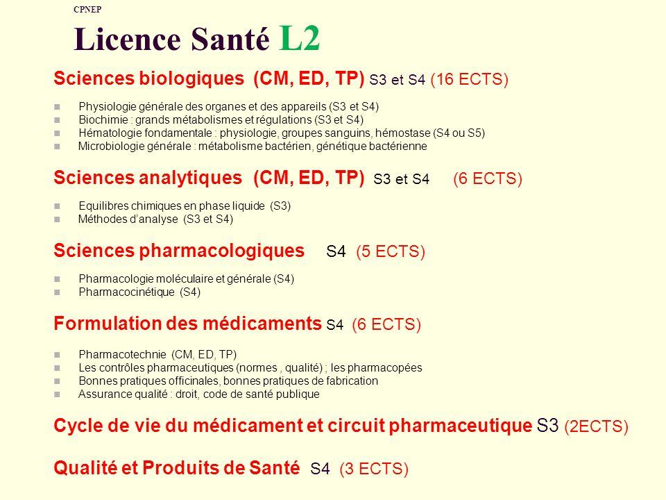 CPNEP Licence Santé L2 Sciences biologiques(CM, ED, TP) S3 et S4 (16 ECTS) Physiologie générale des organes et des appareils (S3 et S4) Biochimie : gr