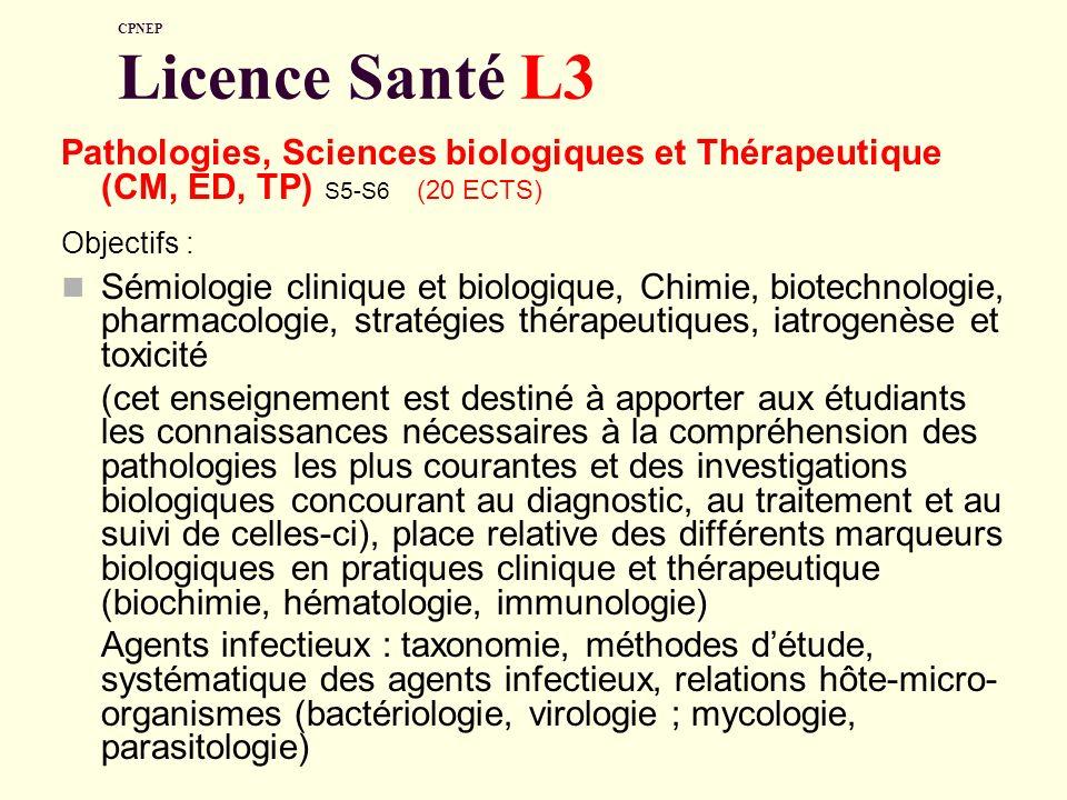CPNEP Licence Santé L3 Pathologies, Sciences biologiques et Thérapeutique (CM, ED, TP) S5-S6 (20 ECTS) Objectifs : Sémiologie clinique et biologique,