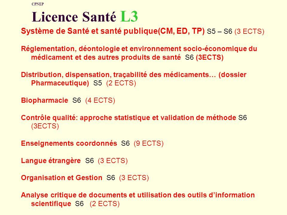 CPNEP Licence Santé L3 Système de Santé et santé publique(CM, ED, TP) S5 – S6 (3 ECTS) Réglementation, déontologie et environnement socio-économique d