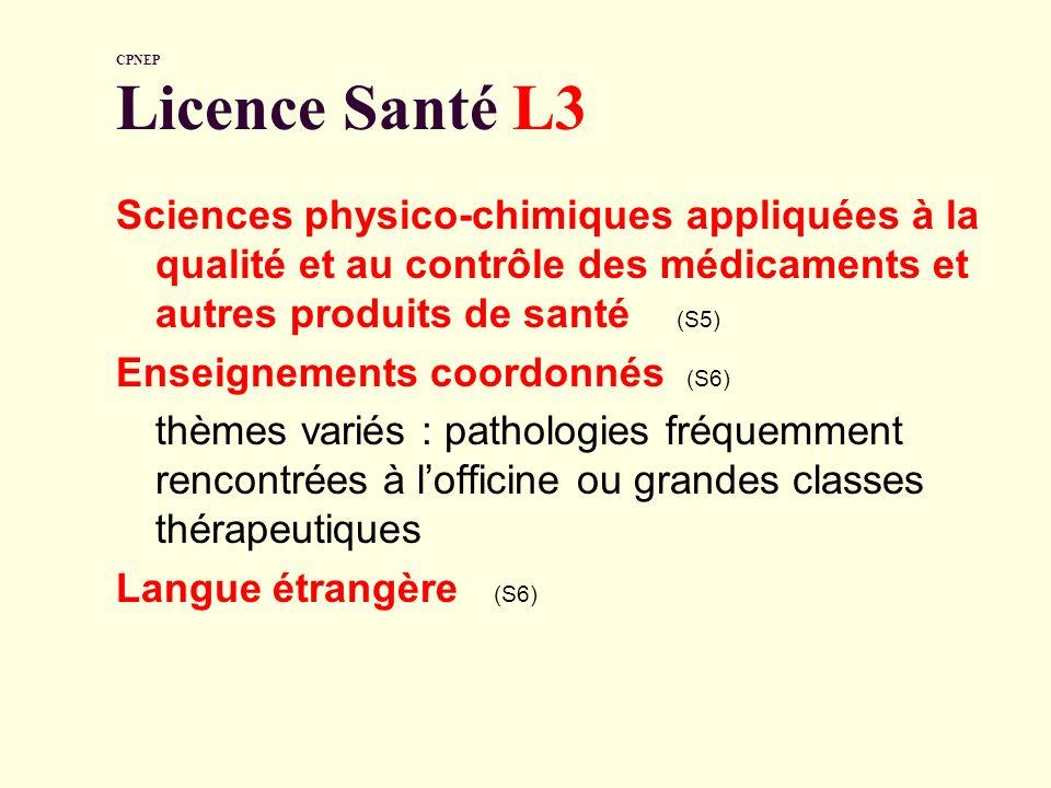 CPNEP Licence Santé L3 Sciences physico-chimiques appliquées à la qualité et au contrôle des médicaments et autres produits de santé (S5) Enseignement