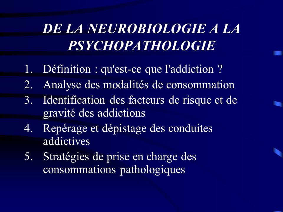 DE LA NEUROBIOLOGIE A LA PSYCHOPATHOLOGIE 1.Définition : qu'est-ce que l'addiction ? 2.Analyse des modalités de consommation 3.Identification des fact