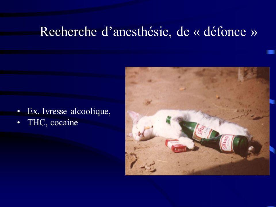 Recherche danesthésie, de « défonce » Ex. Ivresse alcoolique, THC, cocaine