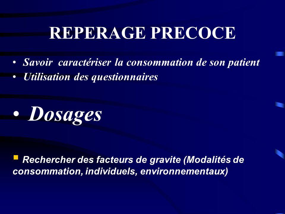 REPERAGE PRECOCE Savoir caractériser la consommation de son patient Utilisation des questionnaires Dosages Rechercher des facteurs de gravite (Modalit