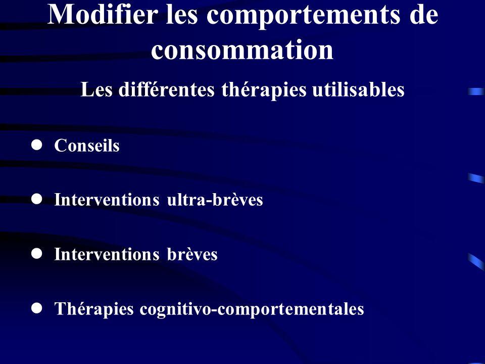 Modifier les comportements de consommation Les différentes thérapies utilisables Conseils Interventions ultra-brèves Interventions brèves Thérapies co