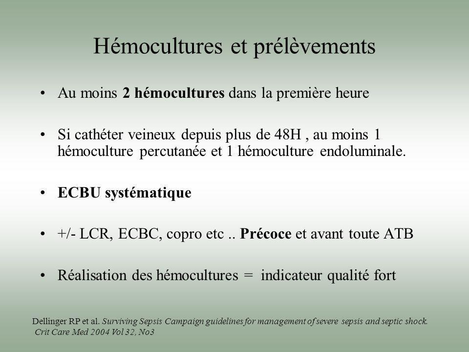 Hémocultures et prélèvements Au moins 2 hémocultures dans la première heure Si cathéter veineux depuis plus de 48H, au moins 1 hémoculture percutanée