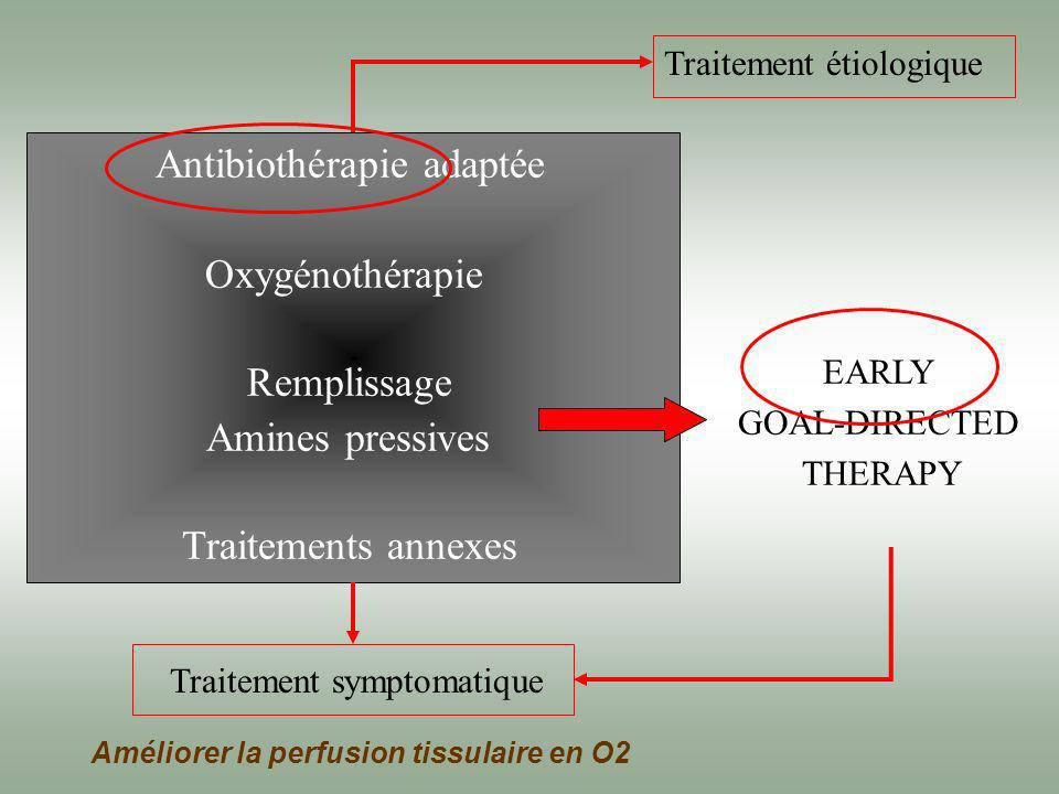 Antibiothérapie adaptée Oxygénothérapie Remplissage Amines pressives Traitements annexes EARLY GOAL-DIRECTED THERAPY Traitement symptomatique Traiteme