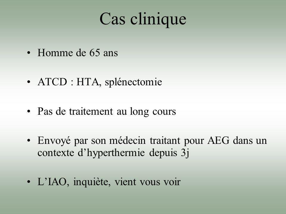 Cas clinique Homme de 65 ans ATCD : HTA, splénectomie Pas de traitement au long cours Envoyé par son médecin traitant pour AEG dans un contexte dhyper