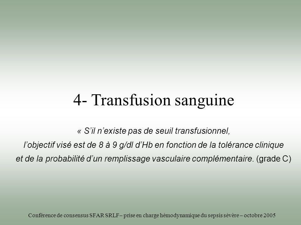 4- Transfusion sanguine « Sil nexiste pas de seuil transfusionnel, lobjectif visé est de 8 à 9 g/dl dHb en fonction de la tolérance clinique et de la