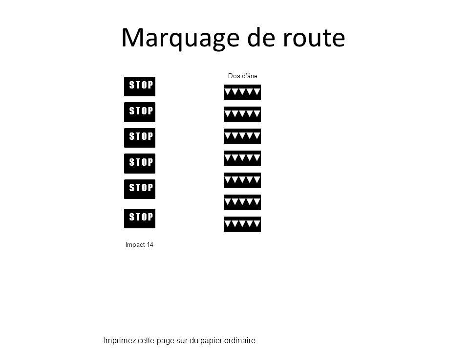 S T O P Marquage de route Impact 14 Dos dâne Imprimez cette page sur du papier ordinaire