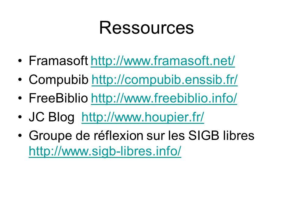 Ressources Framasoft http://www.framasoft.net/http://www.framasoft.net/ Compubib http://compubib.enssib.fr/http://compubib.enssib.fr/ FreeBiblio http:
