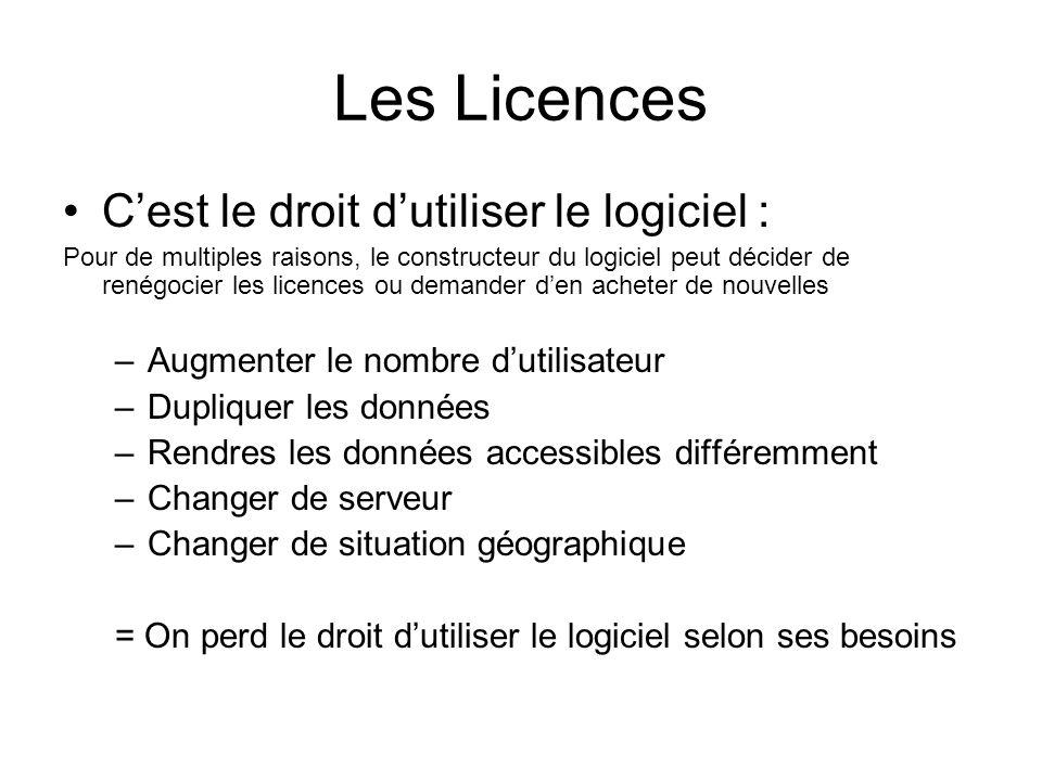 Les Licences Cest le droit dutiliser le logiciel : Pour de multiples raisons, le constructeur du logiciel peut décider de renégocier les licences ou d