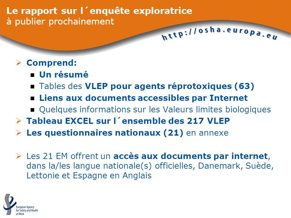 Le rapport sur l´enquête exploratrice à publier prochainement Comprend: Un résumé Tables des VLEP pour agents réprotoxiques (63) Liens aux documents a