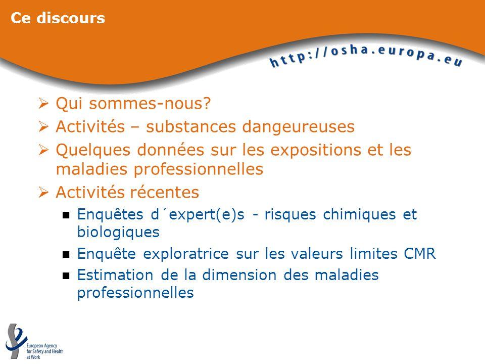 Ce discours Qui sommes-nous? Activités – substances dangeureuses Quelques données sur les expositions et les maladies professionnelles Activités récen